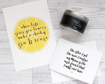 Mothers Day Gin Candle Gift Set – Art Print, Card and Candle Gift Set