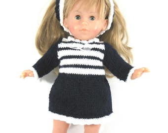 DRESS for doll - Blue Navy and white