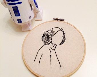 Princess Leia Embroidery Hoop