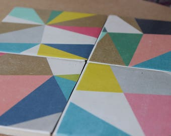 Geometric colourful coasters, set of 4