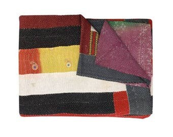 Handmade Kantha Quilt, Kantha Bedspread, Indian Vintage Kantha quilt, Indian Cotton Kantha Quilts,