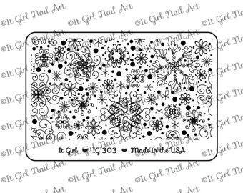 "IG303 Nail Art ""Mini"" Stamping Plate - snowflakes, winter, abstract, infinity"