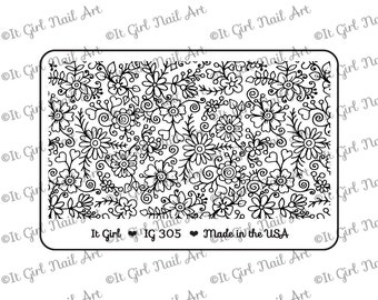 "IG305 Nail Art ""Mini"" Stamping Plate - floral, vines, hearts"