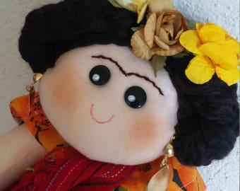 Frida Kahlo Doll, Mexican doll, Frida Kahlo rag doll, Mexican Folk art doll, Day of the dead doll, Mexican Nursery room, Frida Kahlo plush