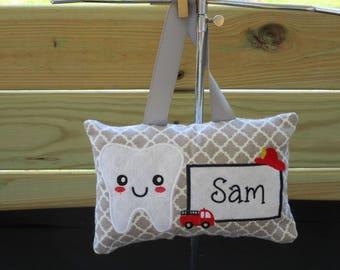 Tooth Fairy Pillow, Boy's Tooth Fairy Pillow,Personalized Tooth Fairy Pillow,Firetruck Tooth Fairy Pillow,