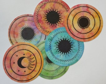 "set of 6 vinyl stickers ""mandala"""