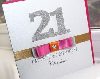 Personalised Handmade 18th 21st Birthday Silver Glitter Card by Charlotte Elisabeth BD006