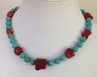 Turquoise and red coral necklace Southwest USA inspired