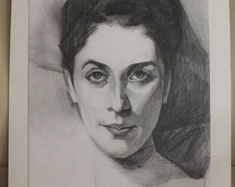 """Lady Agnew of Lochnaw, John Singer Sargent // Master Study After Sargent // Original Drawing // 14"""" x 11"""" // Mounted"""