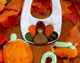 Baby First Thanksgiving Outfit, Newborn Thanksgiving Outfit, Thanksgiving Turkey Applique Bib Pumpkin Hat & Booties, Turkey Day Photo Prop