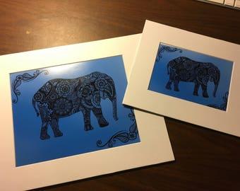Elephant Zentangle Print