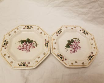 Pair of Nikko Orchard Classic collection bread dessert plates fruits grapes