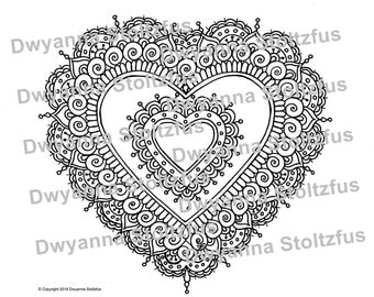 Henna Style Heart 2 Coloring Page