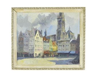 Vintage Mid-Century Impressionist Oil Painting Street Scene Antwerp Grote Market
