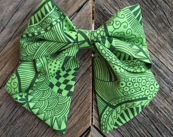 Green tribal fabric cheer style bow!