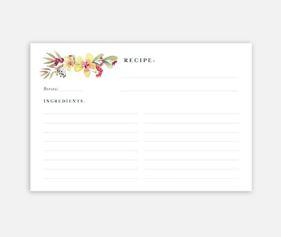 printable recipe card 4x6 recipe card recipe card template. Black Bedroom Furniture Sets. Home Design Ideas