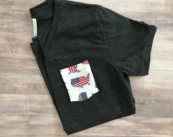 America Pocket Tee, 4th of July Tshirt, United States, Flag, Red white & blue America Tee