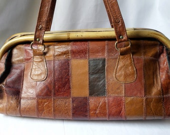 Bag in brown leather and vintage rattan / patchwork of leathers / retro Tote / handbag woman / retro hand luggage / gift wife / MOM