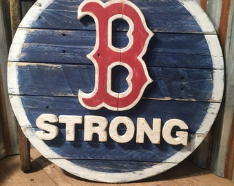 Boston Strong Pallet Sign   Red Sox Fenway Park   Rustic Wood Signs   Mancave