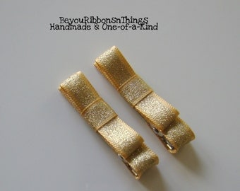 Classic Gold Hair Clips for Girls Toddler Barrette Kids Hair Accessories No Slip Grip