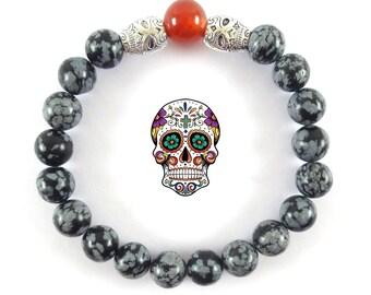 Mexican Skulls Bracelet-Snowflake Obsidian Bracelet-Black Stretch Skulls Bracelet