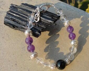 Natural clear Crystal bracelet for Third Eye opening-natural clear Quartz meditation Bracelet