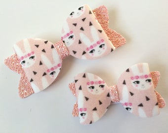 Pink Bunny Hair Bow - Glitter Bow - Easter Bow