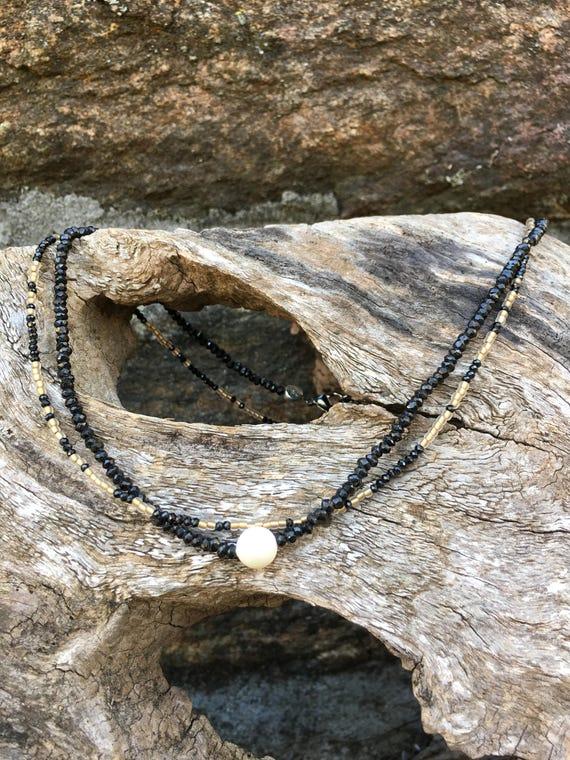 Pearl Swavorski & Black Crystal