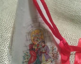 Christmas Tree Ornament Potpourri Holder Porcelain