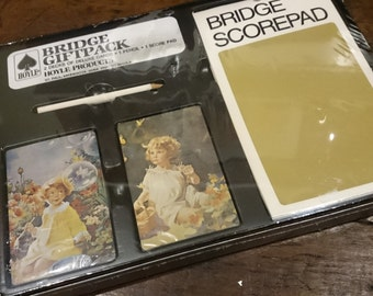 Vintage Hoyle Bridge Giftpack/ Playing Cards/ Score Pad/ Children and Fairies Design