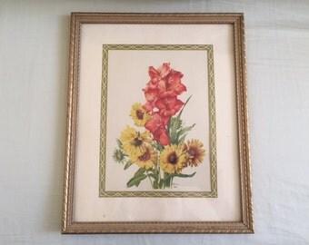 Vintage Framed Floral Arrangement Lithograph Print