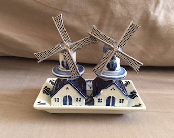 Vintage Blue and White Delft Holland Windmill Salt and Pepper Shakers on Plate