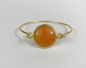Orange Agate Hammered bangle