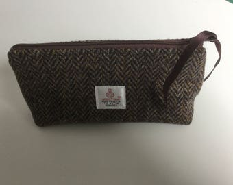 Handmade Harris Tweed pencil case, small makeup bag, teachers gift, birthday gift
