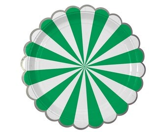 Green, white, and silver foil paper plates. Set of 8. Green and white striped paper plates. Green and white party plate. Green paper plates
