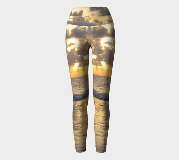 African Sunrise Performance Wear Leggings, Eco-Friendly and Printed from Original Photography
