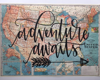 United States Map // Vintage Style Map // Adventure Awaits