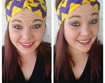 Purple and Yellow Chevron Fabric Headband