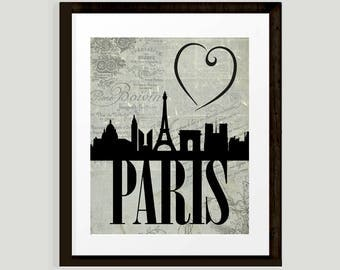 Love Paris, city silhouette, Paris Skyline on antique French text montage, heart Paris, INSTANT DOWNLOAD