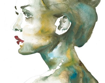 Portrait V GICLEE PRINT of watercolour painting. On fine art paper