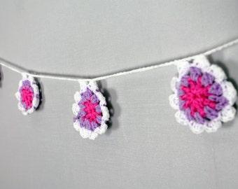 Pink, purple and white crochet garland / crochet wall art / crochet decor / bedroom decor / girls room decor / flower garland