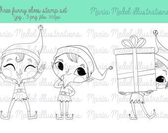 3 DIVERTIDOS ELFOS. Sello Digital de la Navidad. Descarga inmediata. Uso personal. Scrapbooking, tarjeta que hace, página para colorear