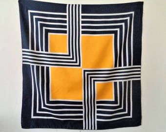 French Scarf, geometric Pattern Scarf, De La Roche Scarf, Blue Yellow Scarf, Polyester