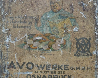 Spice AVO WERKE vintage box / old Tin made in germany / Collection metal box