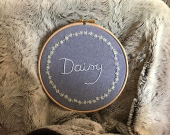 Floral Name Plate Embroidery