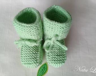 Knitted booties. Baby booties. Green booties Booties handmade.