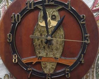 "Handmade Golden Owl on Wood Clock, 7.5"""