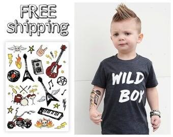 Rock'n'Roll kids temporary tattoos set. Rock music style kids tatts: guitar, motor bike, drums, vinyl. Playdate & party bag supply. TA038.