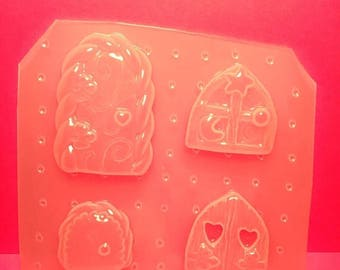 4 pc Whimsical Fantasy Fairy Door Flexible Plastic Mold For Resin Crafts Polymer Clay
