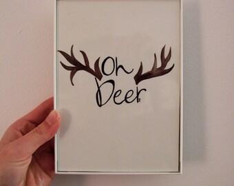 Oh Deer 5x7 Original Watercolor